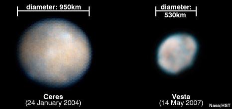 Ceres i Vesta - Foto: NASA-HST