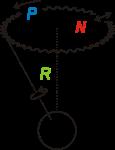 P - precesija, N - nutacija, R - rotacija: izvor: wikipedia