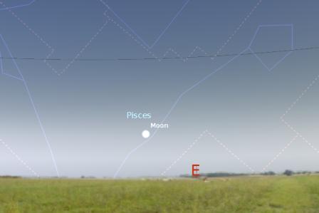 Položaj Meseca u trenutku početka zime - foto: Stellarium