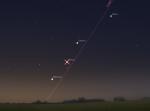 Saturn, Venera, Merkur duž ekliptike