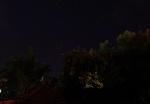 Crvenkasta zvezda Antares (dole levo) u sazvežđu Škorpija i Saturn gore desno, odmah iznad krošnji drveća