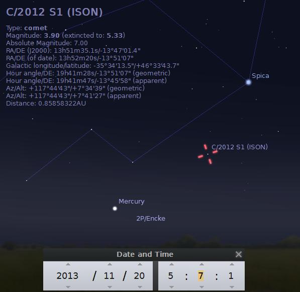 Kometa ISON - foto: Stellarium