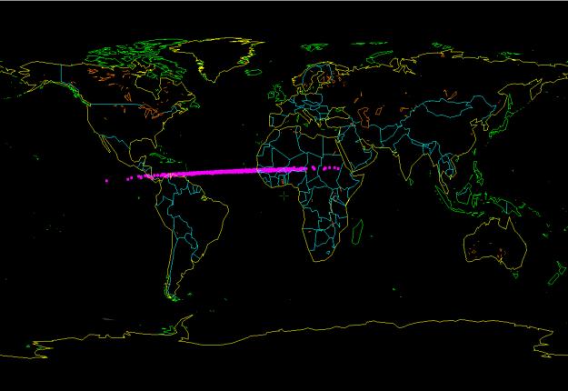 Negde duž ove linije je asteriod 2014 AA uleteo u atmosferu - foto: Bill Gray
