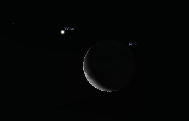 Konjukcija Mesca i Venere - foto: Stellarium