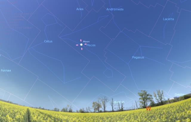 Položaj Meseca u trenutku početka leta - foto: Stellarium