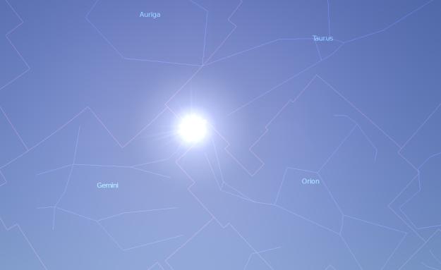 Sunce na početku leta - foto: Stellarium