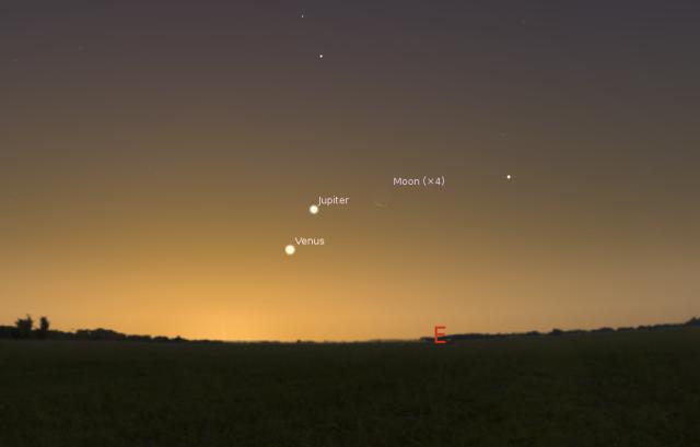 Položaj Jupitera, Venere i Mesca 23. avguusta - foto: Stellarium