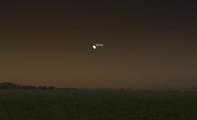 Konjukcija Jupitera i Venere - foto: Stellarium