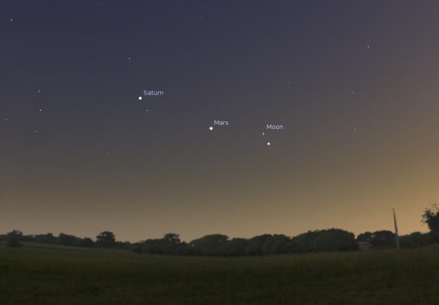 Mars, Saturn i Mesec večeras 2. avgusta - foto: Stellarium