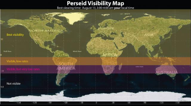 Mapa vidljivosti meteorske kiše Perseida - foto: NASA
