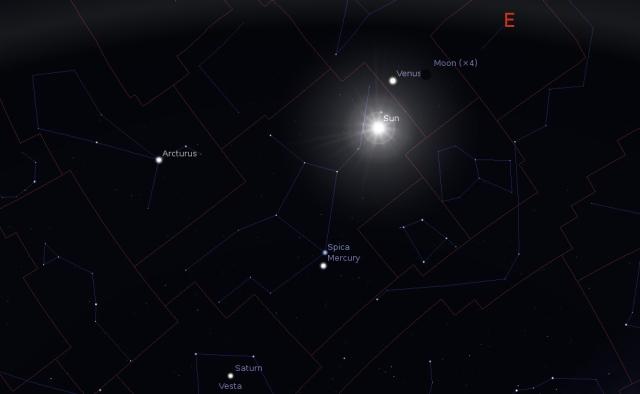 POložaj Sunca i Meseca u trenutku početka jeseni 2014 - foto: Stellarium