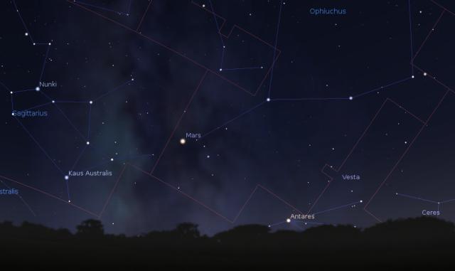 Položaj Marsa na nebu 19. oktobra - foto Stellarium