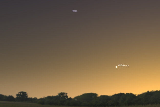 Konjukcija Venere i Merkura - 11.01.2014. (foto: Stellarium)