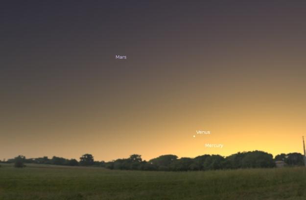 Mars, Venera i Merkur - 30.12.2014. (foto: Stellatium)