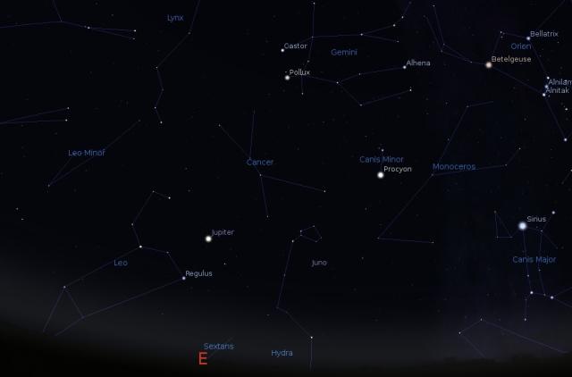 Jupiter u sazvežđu Lav - foto: Stellarium