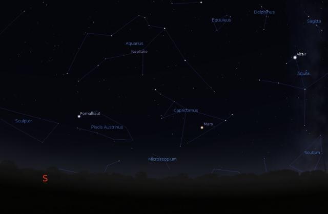 Mars u sazvežđu Jarac - foto: Stellarium