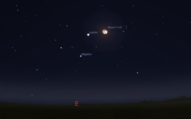 Jupiter i Mesec (07.01.2015) - foto: Stellarium