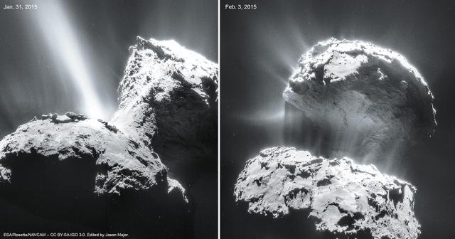 Kometa 67P/C-G snimljena 31. janurra i 3. februara - foto: ESA/Rosetta