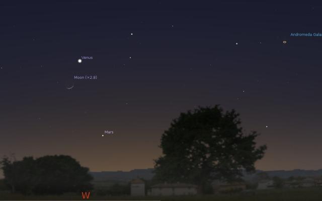 Zapadno nebo 22. marta oko 18:30 - foto: Stellarium
