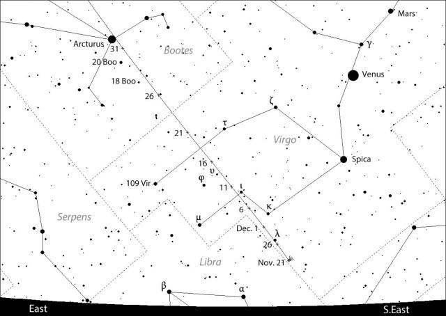 Putanja komete Catalina - -foto - Chris Marriott's SkyMap