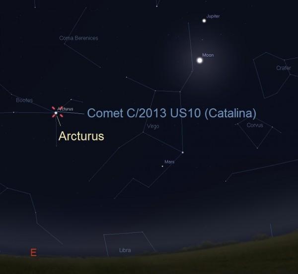 Kometa Catalina i zvezda Arkturus 01.01.2015. godine - foto: Stelarium