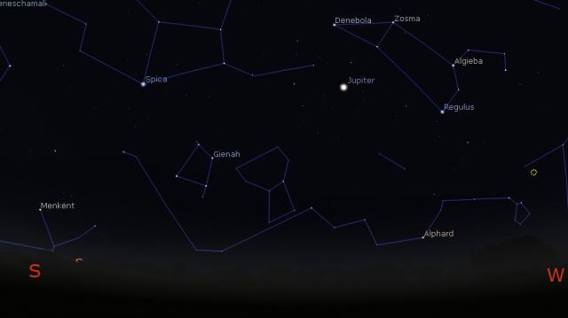 Jupiter u opoziciji 8. marta 2016, godine - foto Stellarium