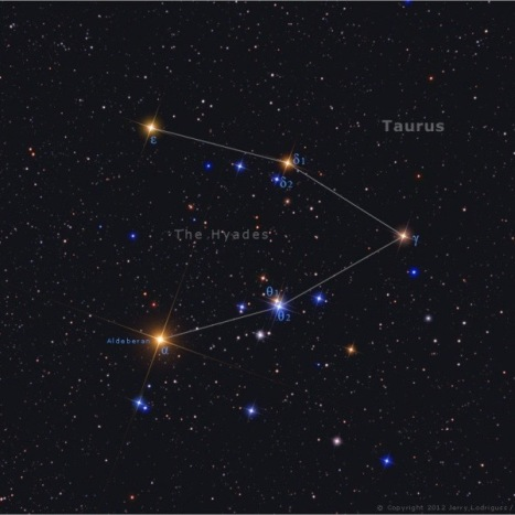 Hijade i zvezda Aldebaran u sazvežđu Bik - foto: Jerry Lodriguss/AstroPix.com.