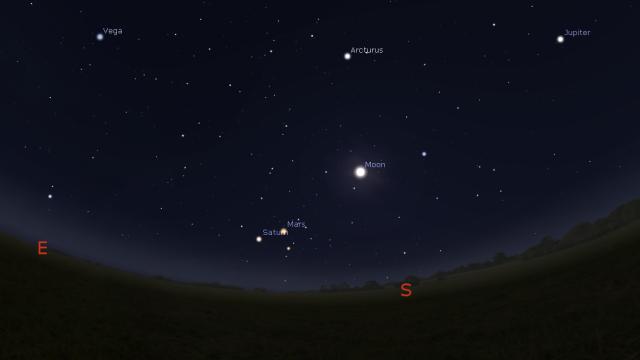 Noćno nebo u vreme ovogodišnjih Lirida - foto: Stellarium