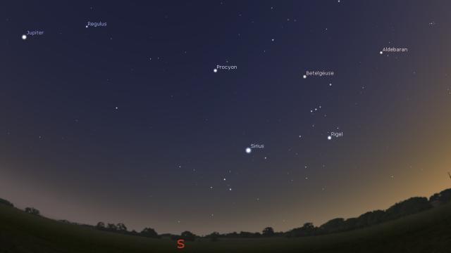 Jupiter i zimska sazvežđa - foto Stellarium