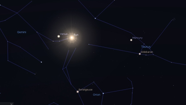 Sunce, Venera i Merkur u trenutku početka proleće- foto: Stellarium
