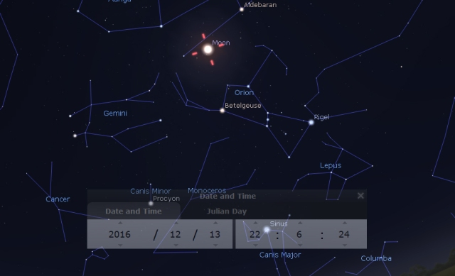 Pun Mesec u sazvežđu Blizanci - foto: Stellarium
