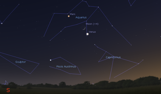 Mesec između Marsa i venere - foto: Stellarium