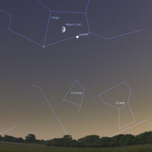 Mesec i Jupiter - foto Stellarium