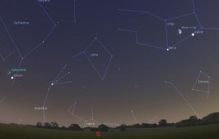 Saturn, Mesec i Jupiter - foto Stellarium